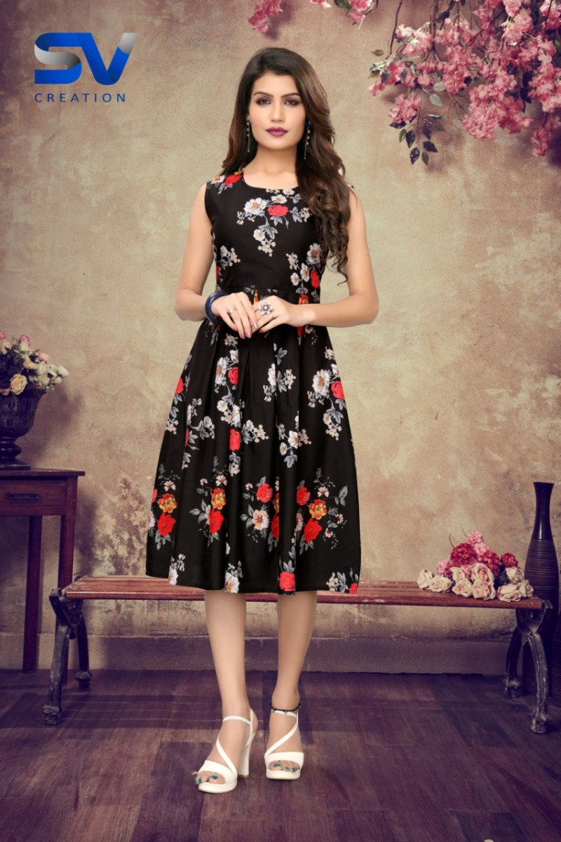 Imported Digital Print One Piece Dress In Floral Design